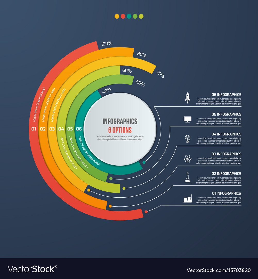 Circle informative infographic design 6 options