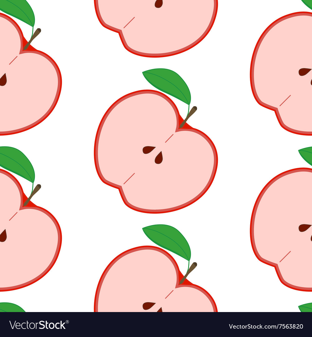 Colorful seamless pattern with apples on the white