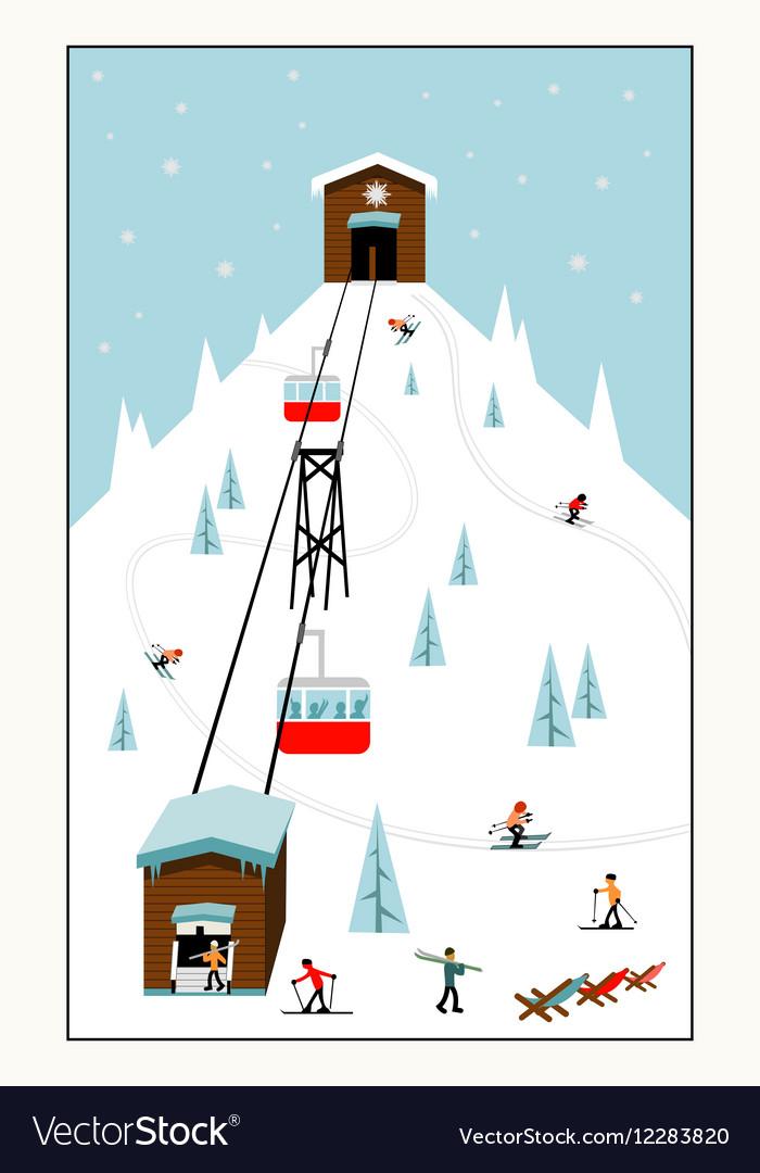 Cool pastel Cartoon ski poster The mountain