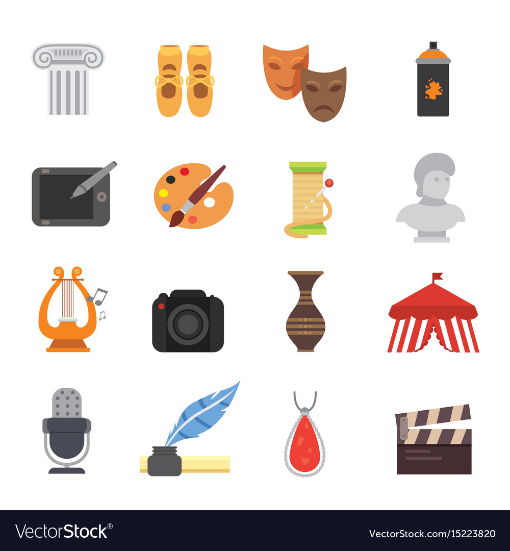 Design and art skill icons artistic entertainment