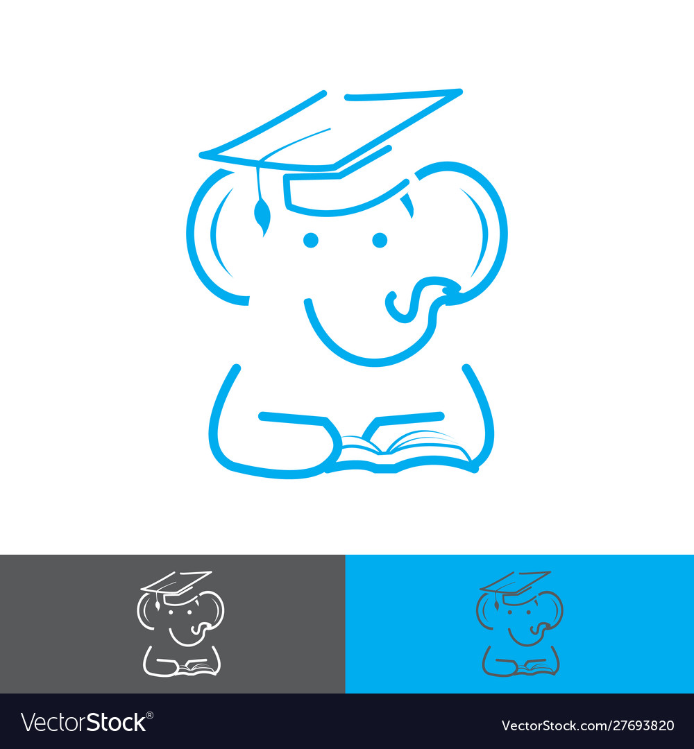 Elephant wearing a graduation cap and reading a