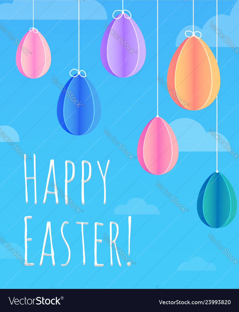 Festive easter card with hanging paper origami