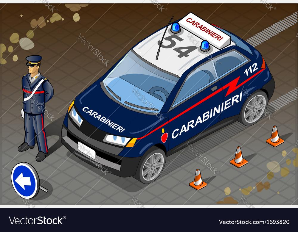 Isometric Italian Carabinieri Police Car vector image