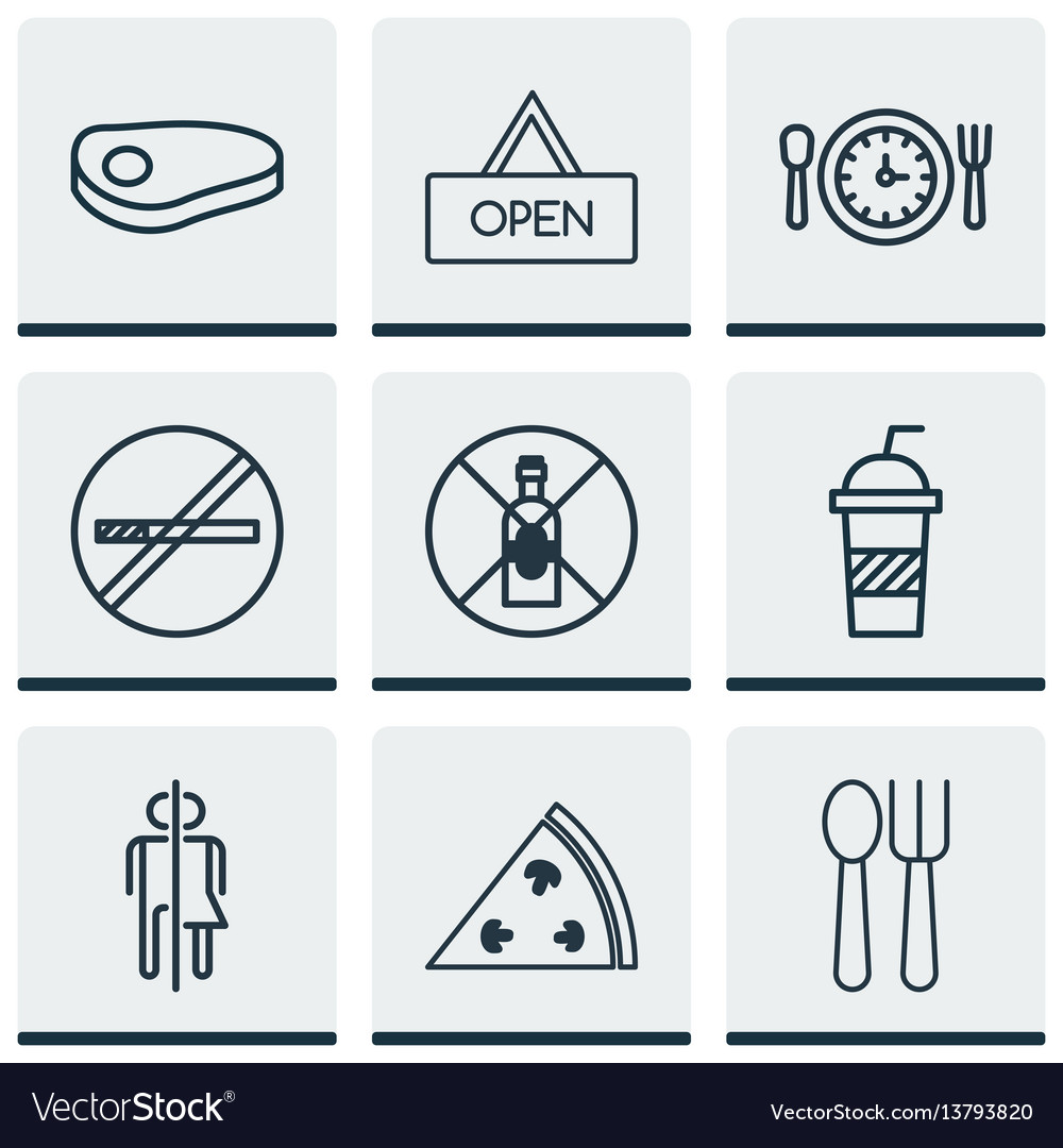 Set of 9 restaurant icons includes no drinking