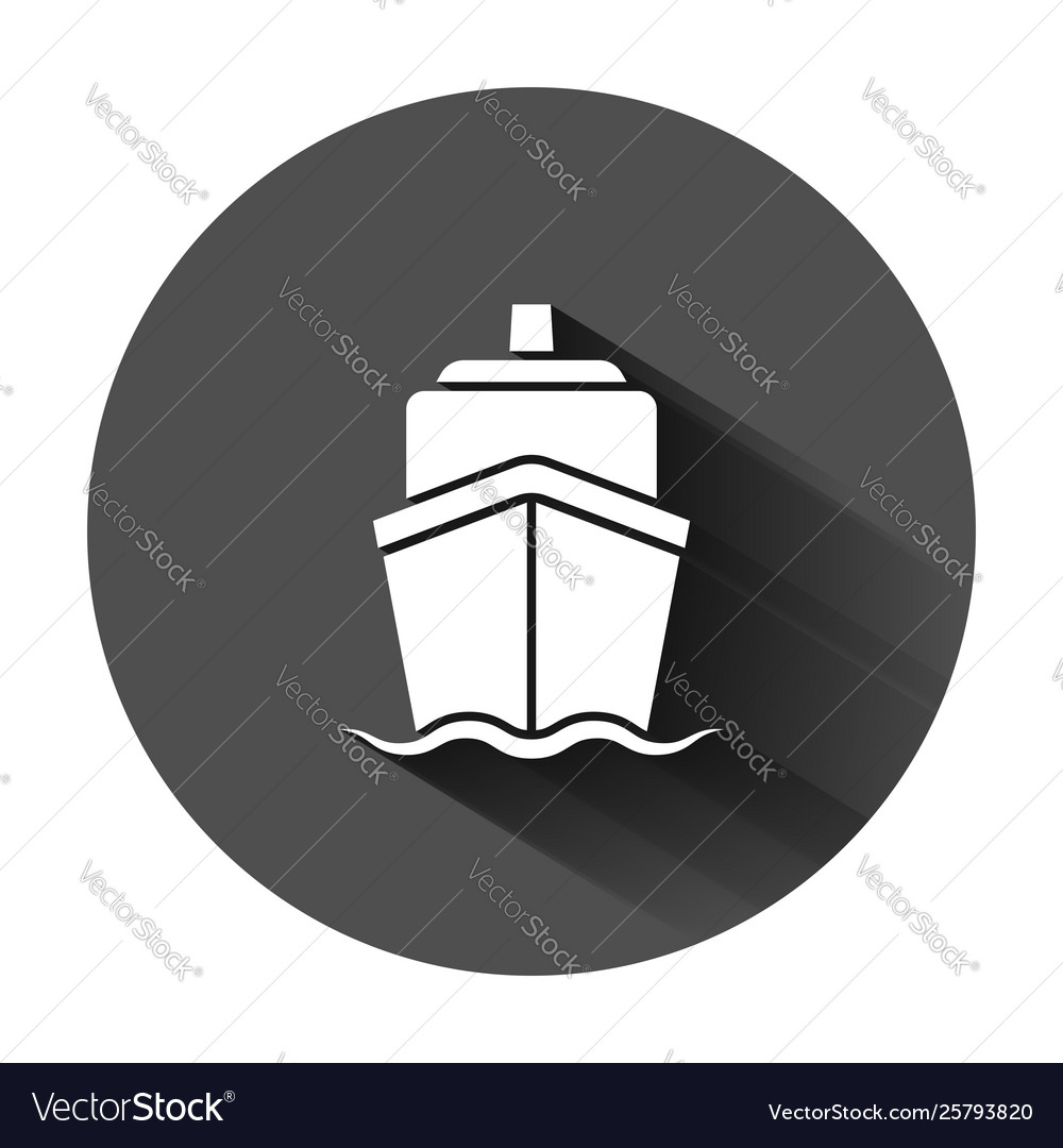 Ship cruise sign icon in flat style cargo boat on