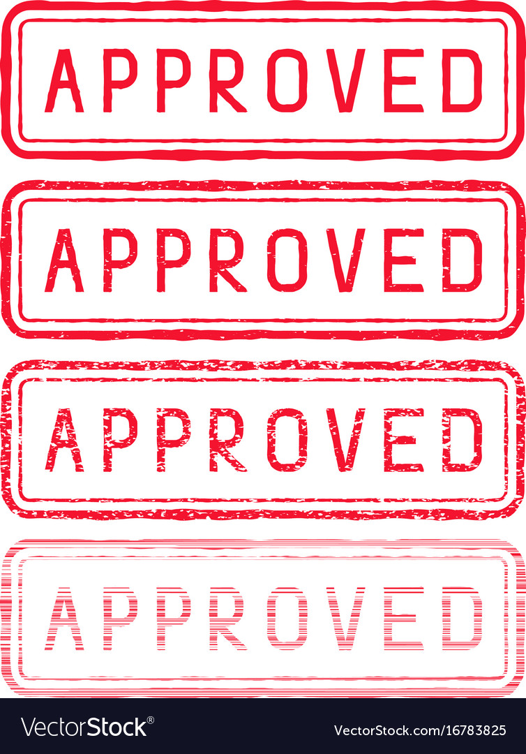 Approved stamp red rectangular impress vector image