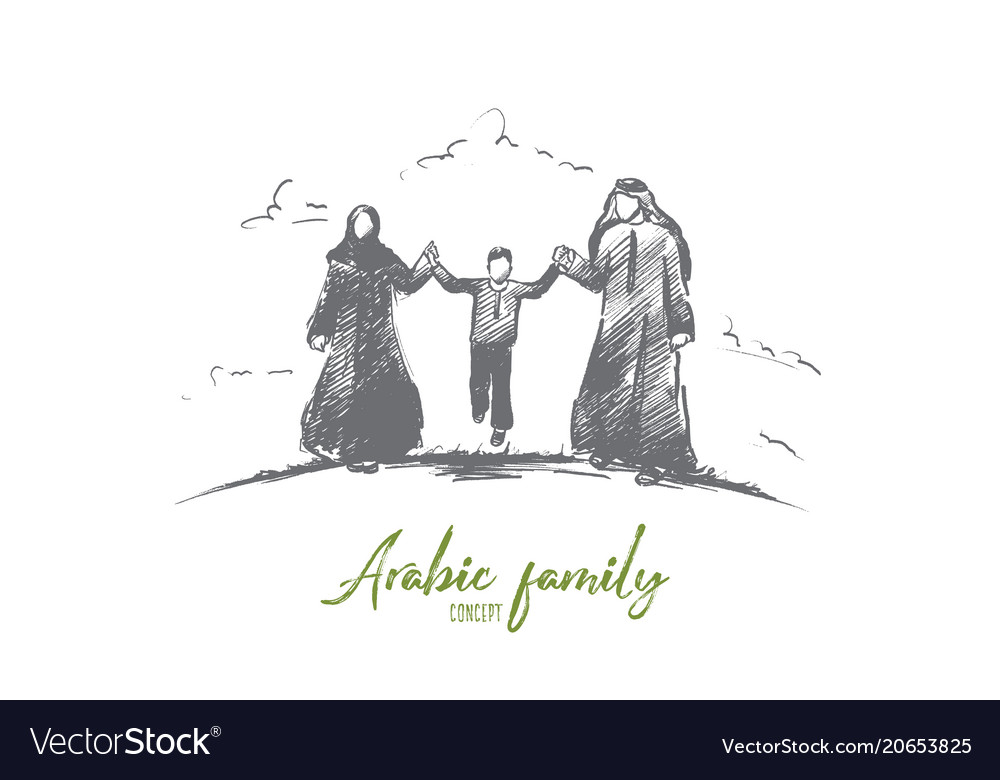 Arabic family concept hand drawn isolated