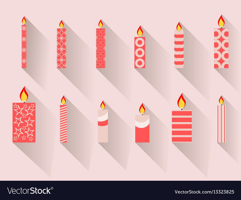 Christmas candles in a flat design with long