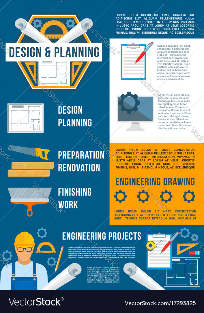Construction and building industry poster vector image