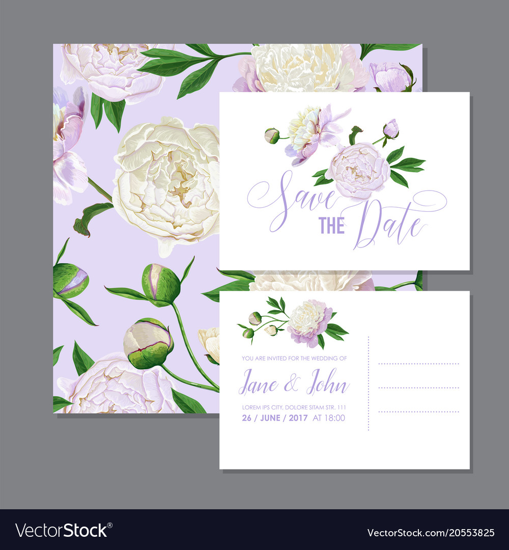 Floral Wedding Invitation White Peonies Flowers Vector Image On Vectorstock