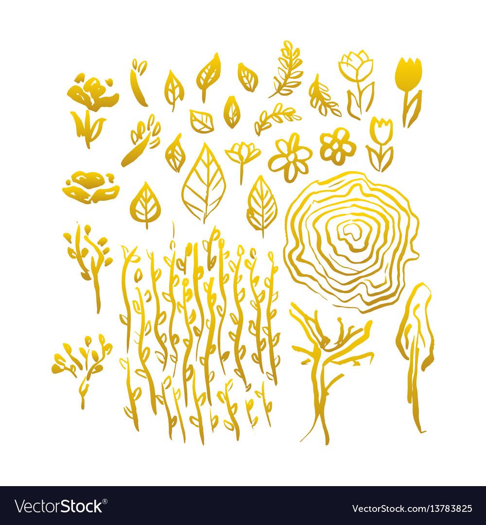 Gold hand drawn spring
