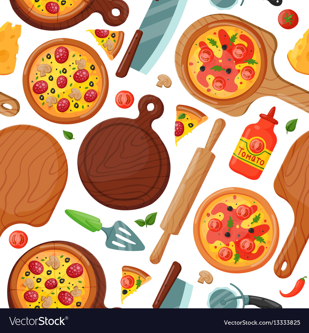 Hot fresh pizza banner seamless pattern icon food
