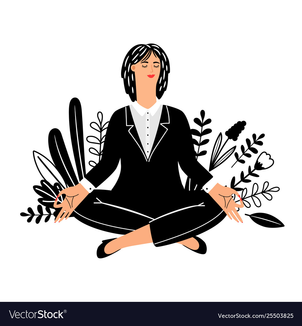 Meditation concept with businesswoman