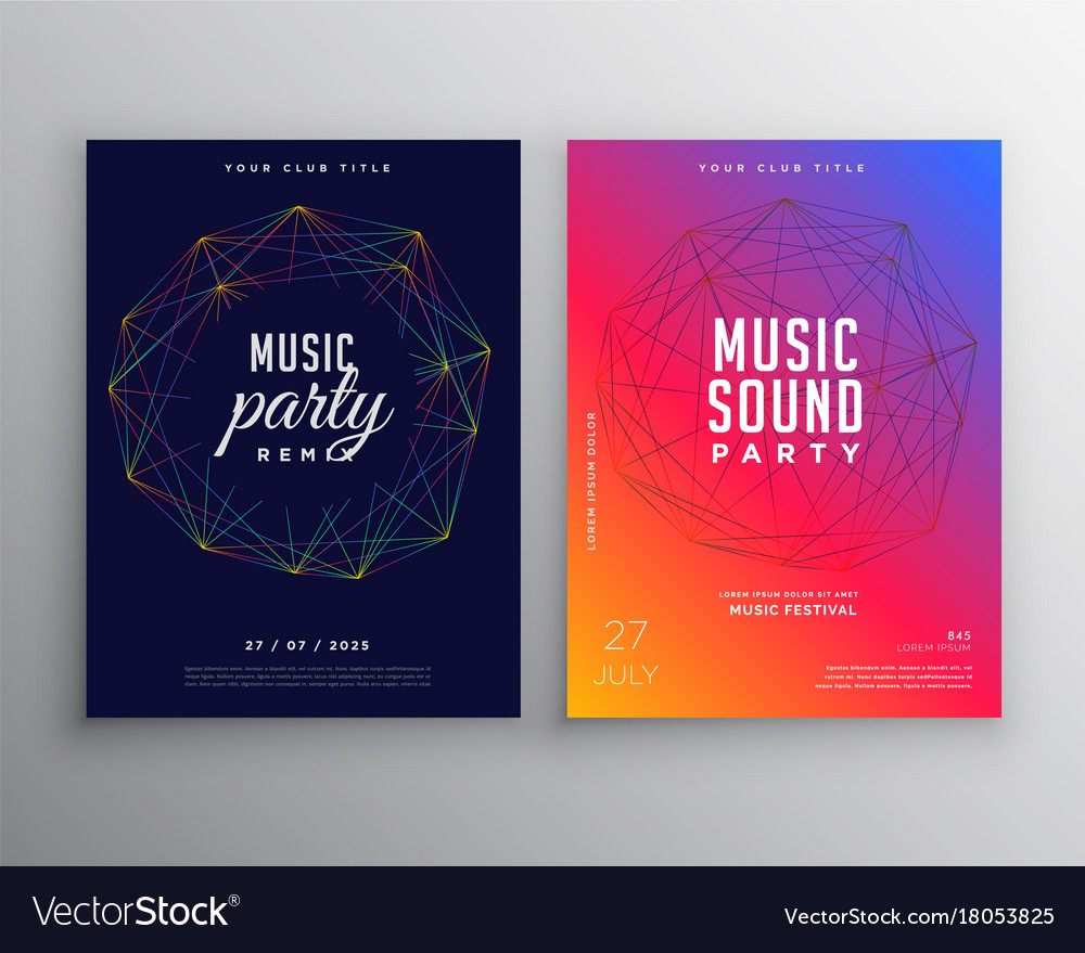 Music party flyer template design with digital