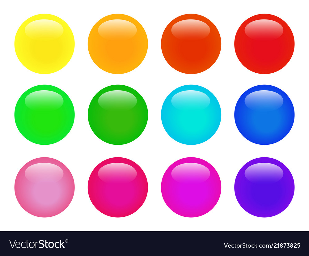 Set of colorful isolated glossy web buttons