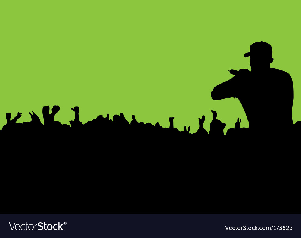 Silhouette concert crowd