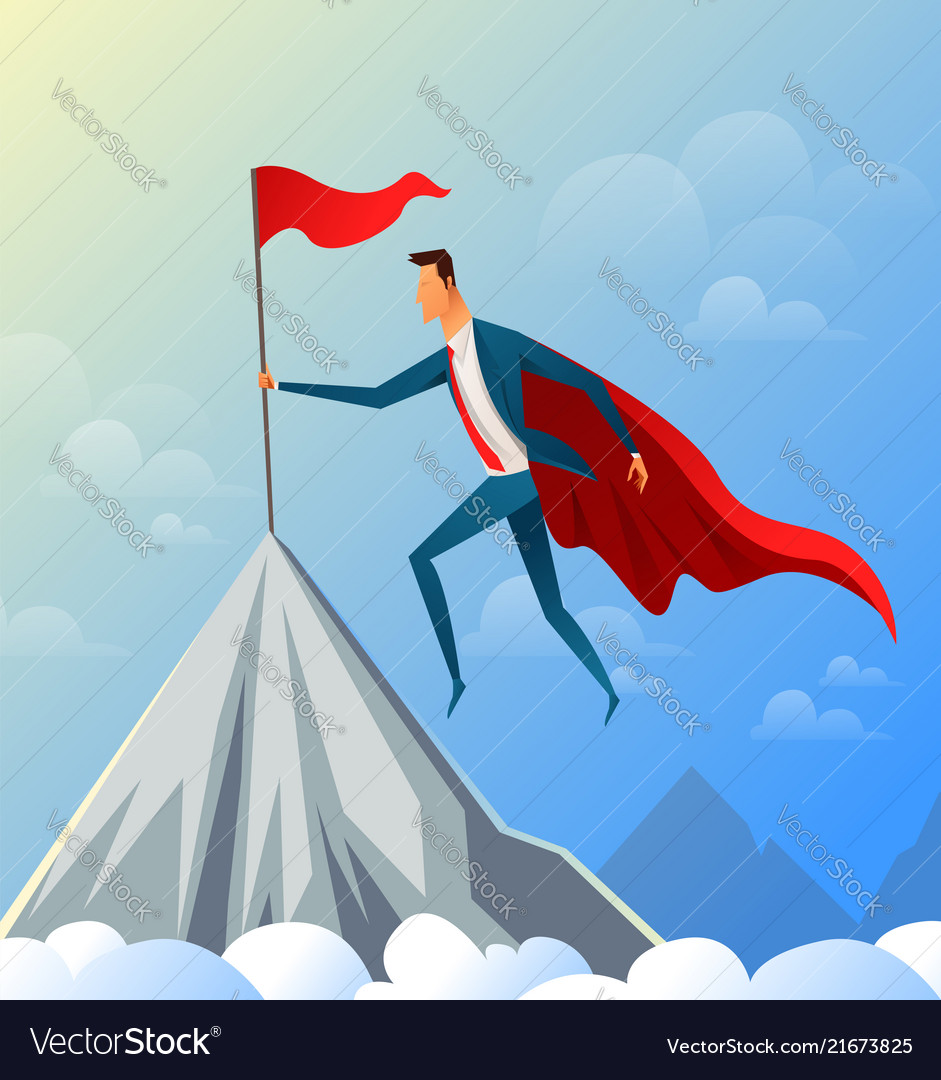Super businessman flying on top of the mountain