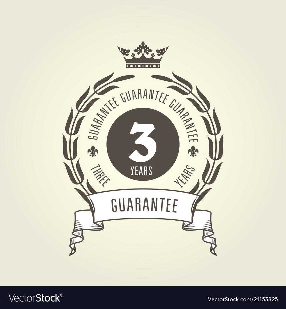 Three years warranty seal - chic guarantee emblem