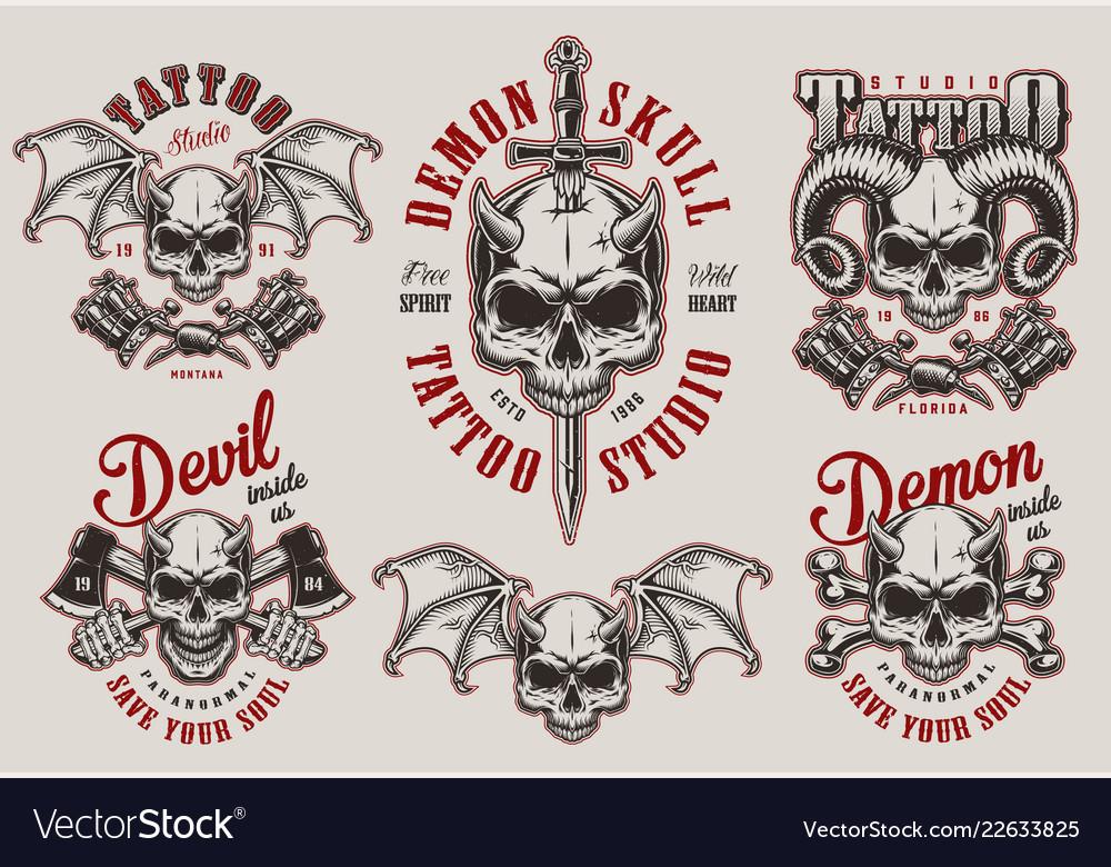 Vintage demon tattoo studio prints set