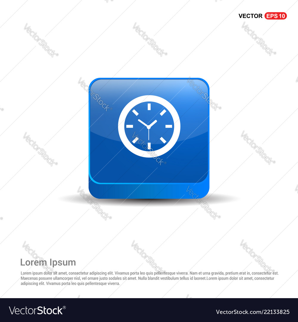 Wall clock icon - 3d blue button