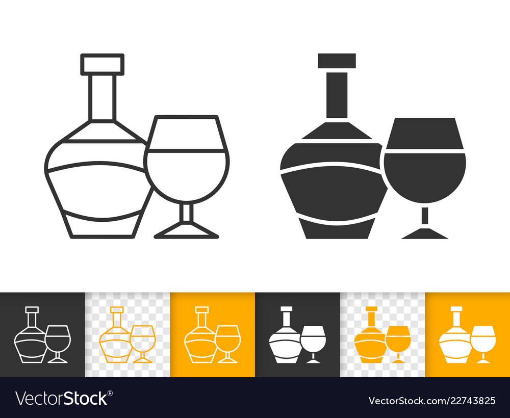Wine glass bottle simple black line icon