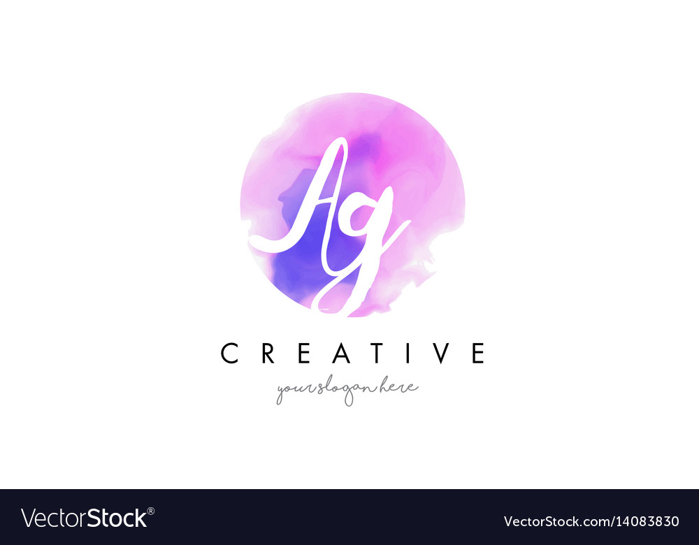 Ag watercolor letter logo design with purple