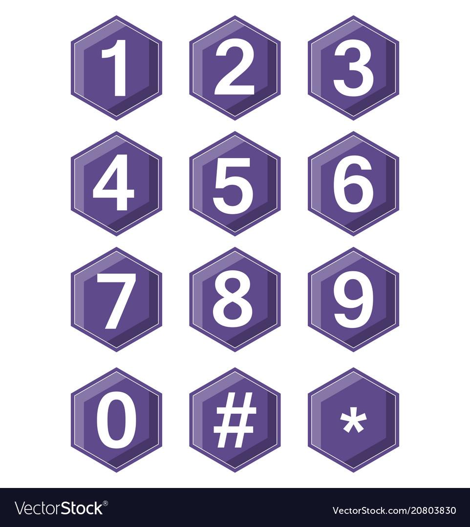 Artistic number set on ultraviolet hexagonal