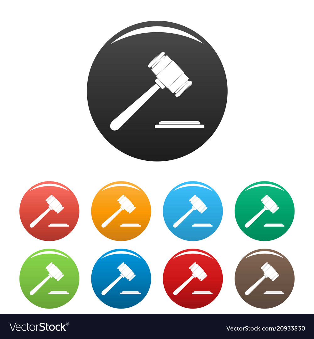 Auction gavel icons set color