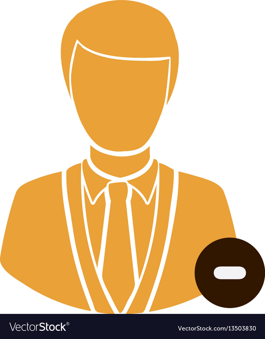 Color half body silhouette man with sign minus