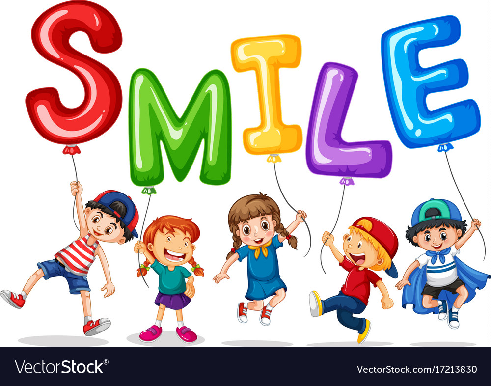 Happy children and balloons for word smile