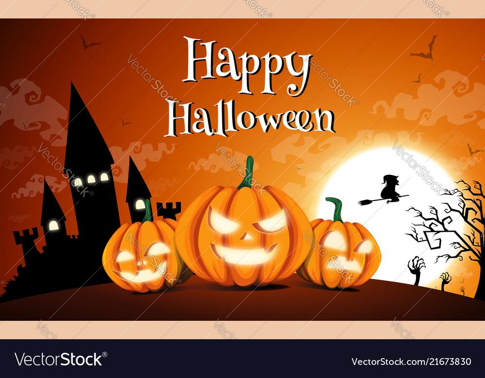 Happy halloween night background with dark castle