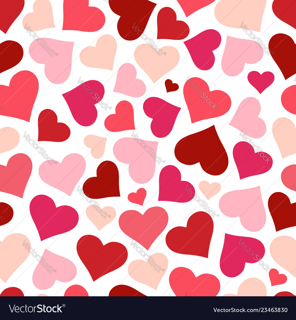 Hearts seamless pattern background red heart