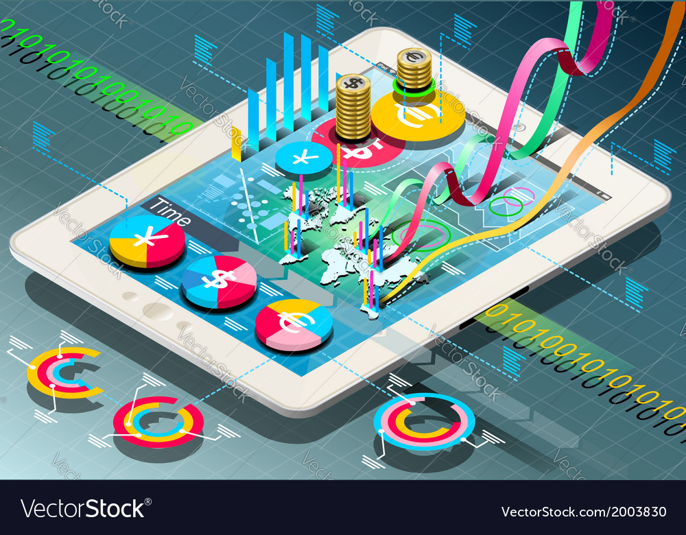 Isometric Business Infographic on Tablet vector image