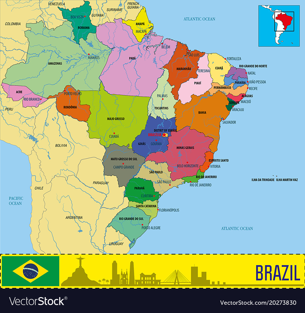 the map of brazil Political Map Of Brazil Royalty Free Vector Image the map of brazil