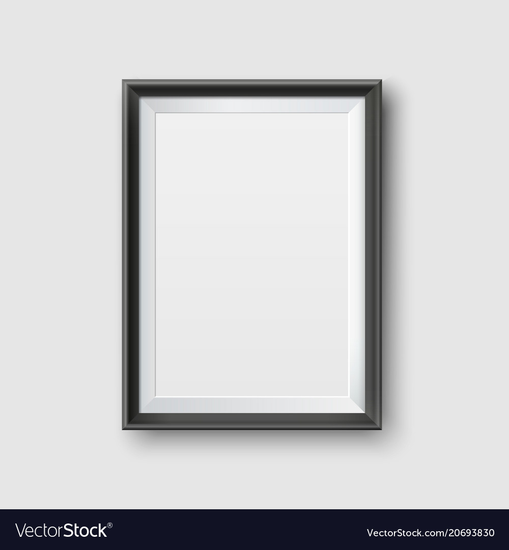 Realistic empty black picture frame mockup