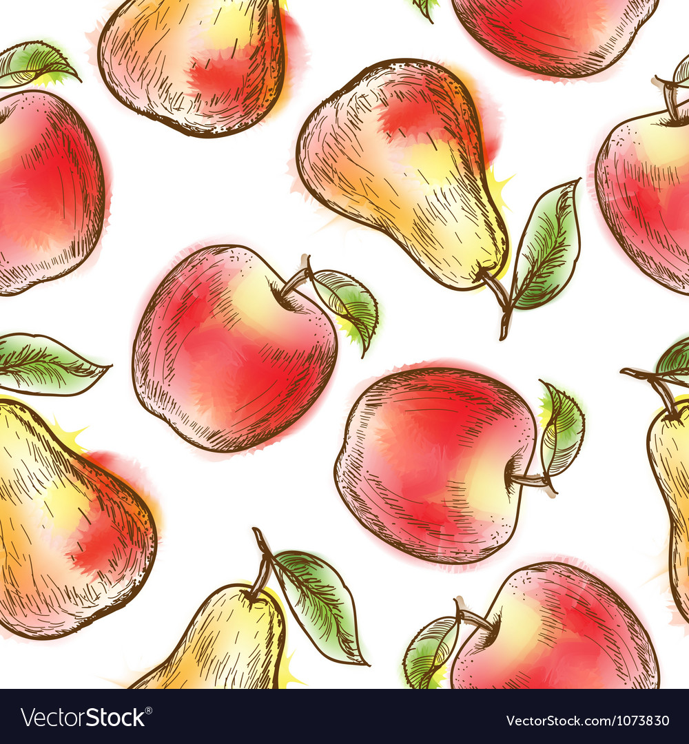Seamless pattern with apples and pears