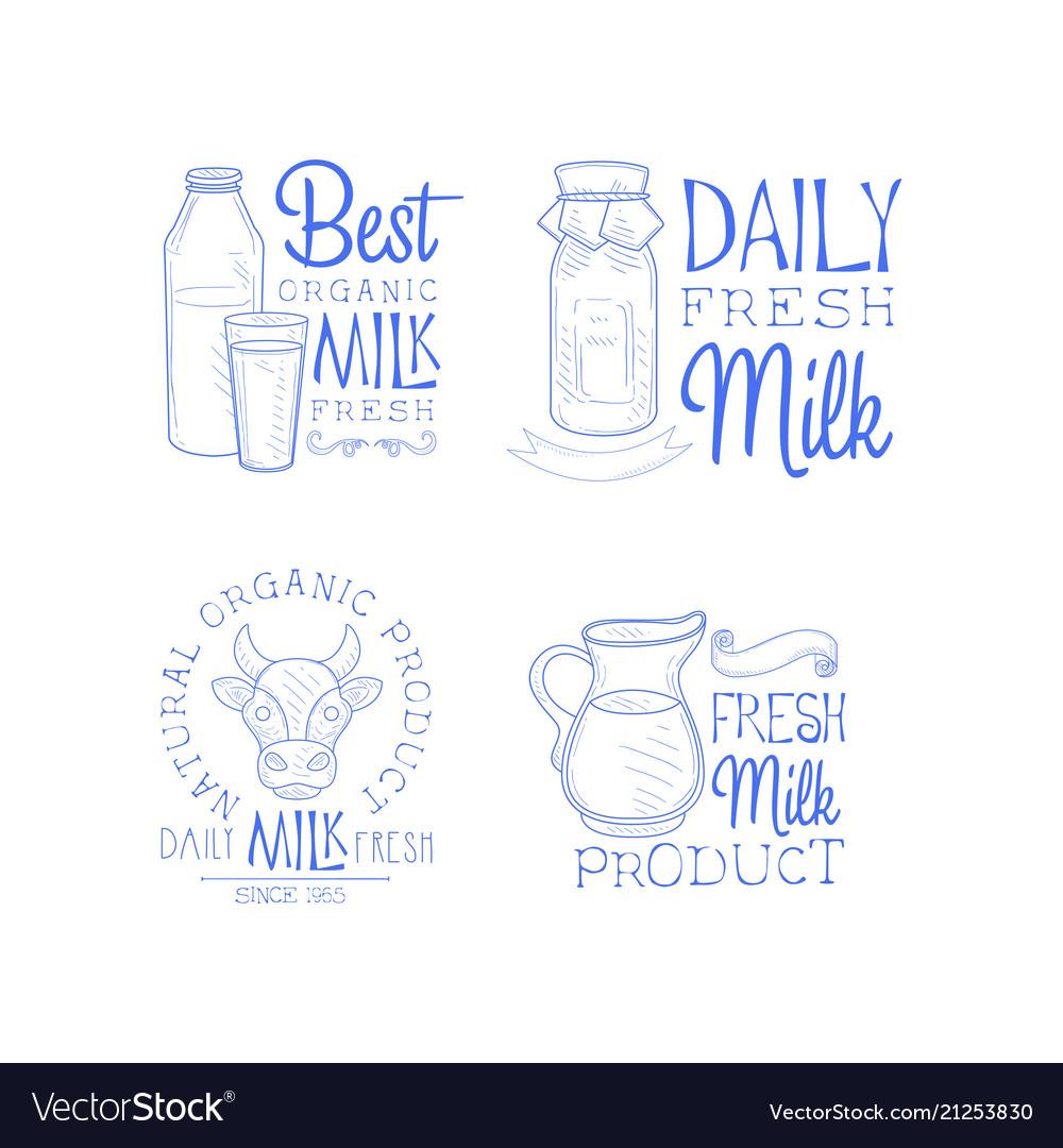 Set of monochrome logo templates for milk