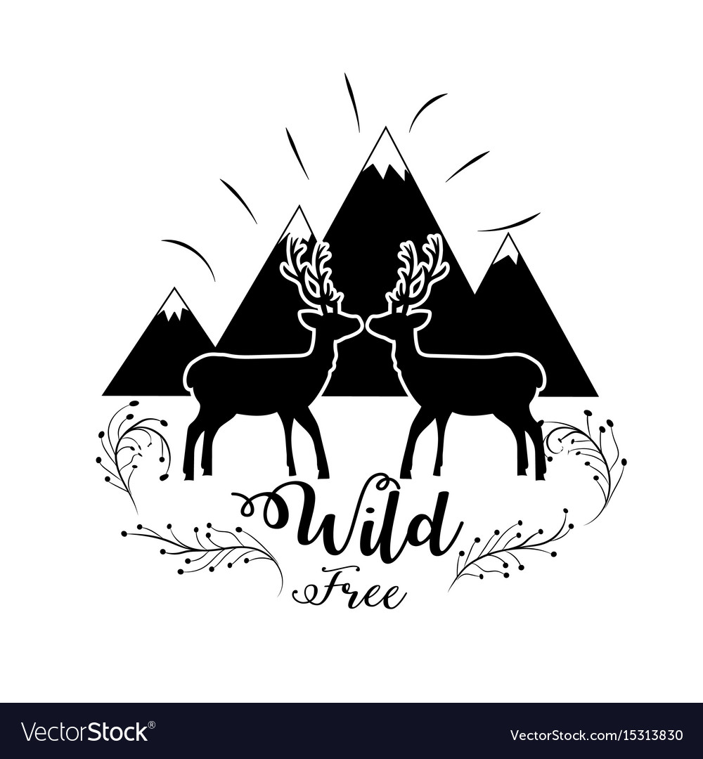 Snowy mountains with deers wild animal vector image
