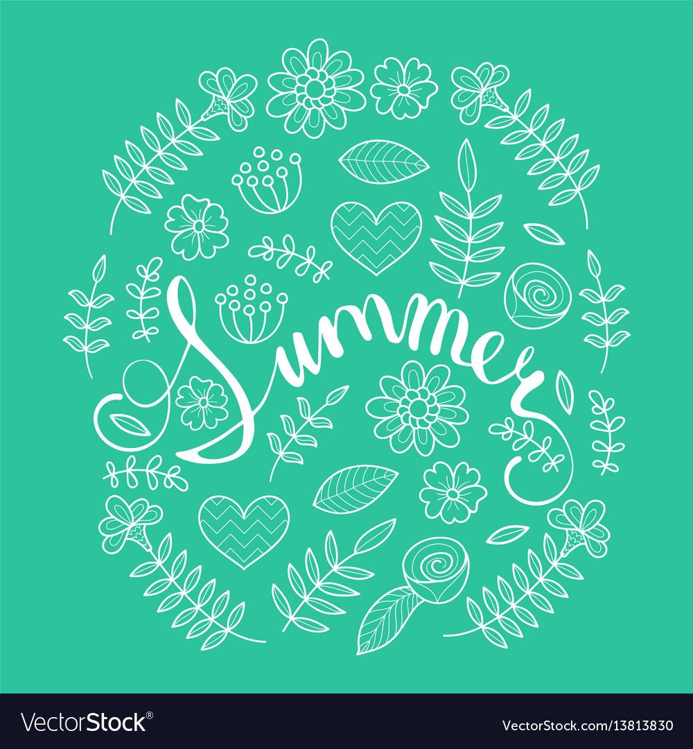 Summer lettering in floral pattern round frame