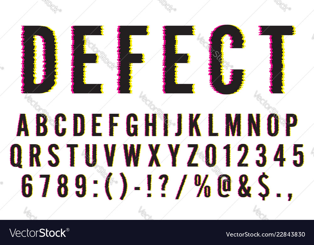 Trendy distorted glitch font typeface letters
