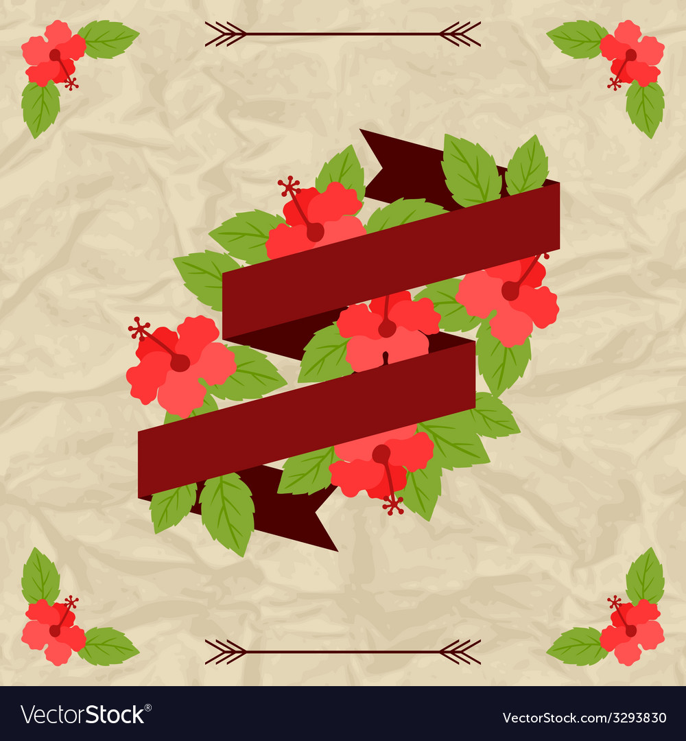 Tropical background with stylized hibiscus flowers