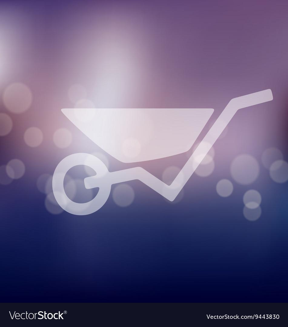 Wheelbarrow icon on blurred background vector image