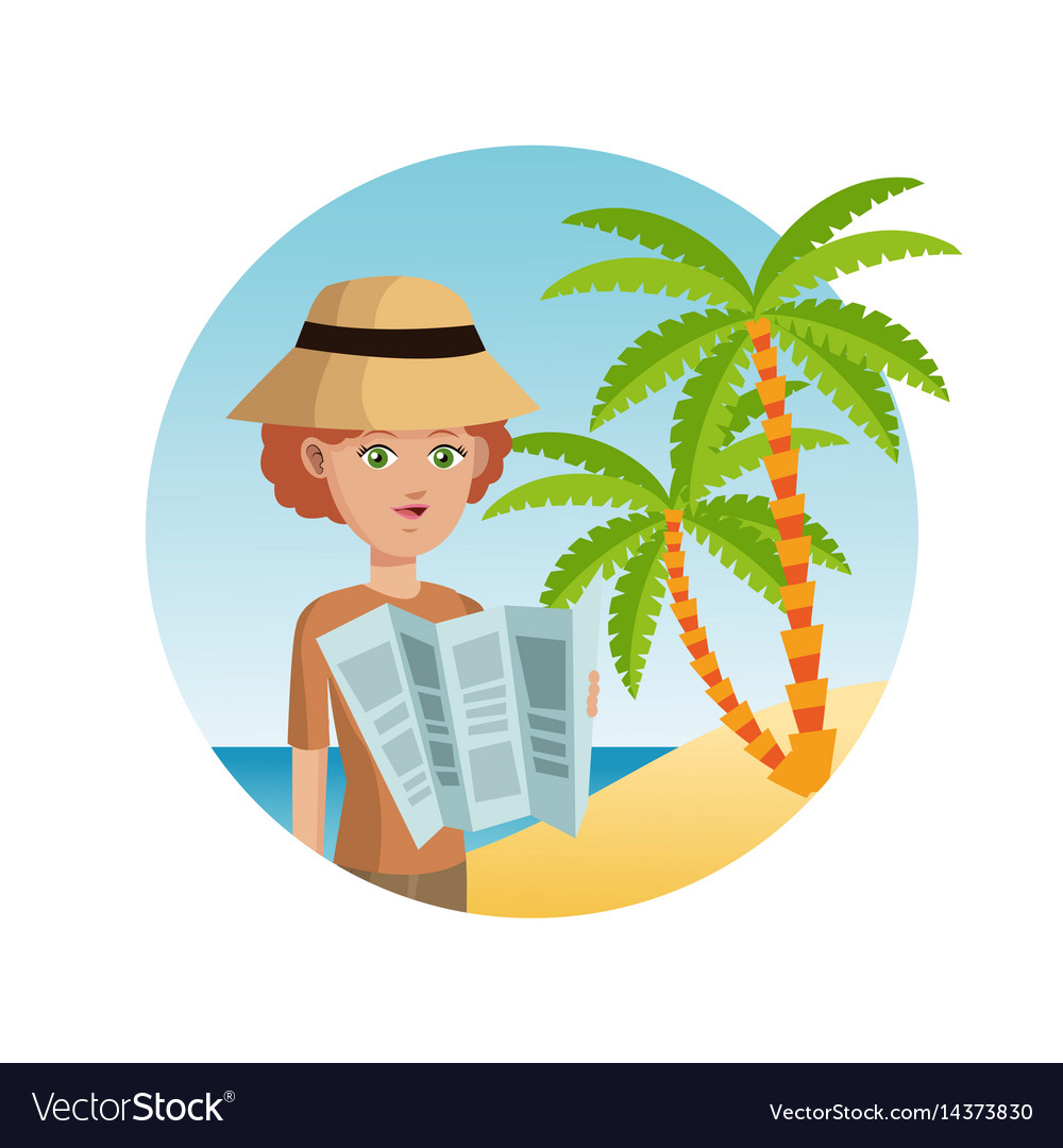 Woman tourist hat reading map palm sand beach vector image