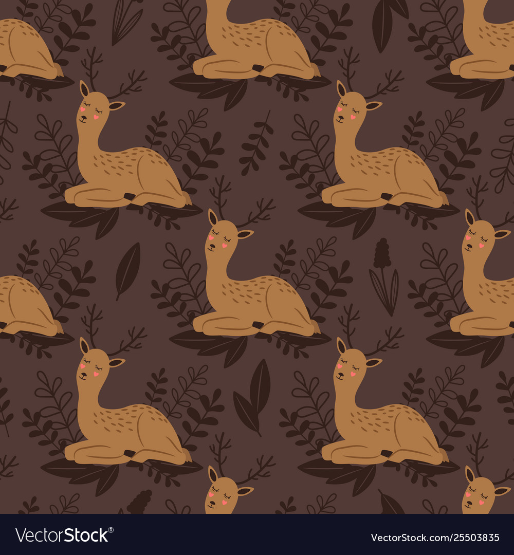 Badeer seamless pattern cute deer and
