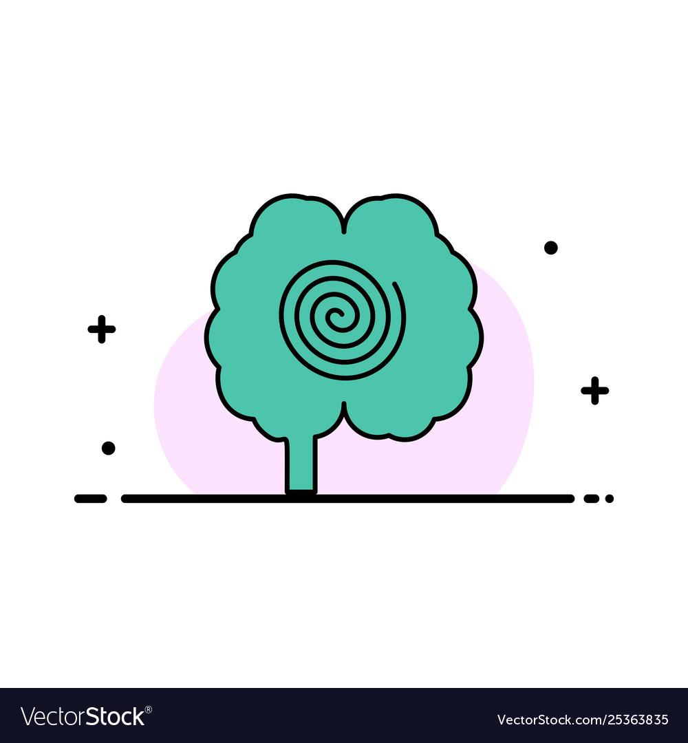 Brain head hypnosis psychology business flat line