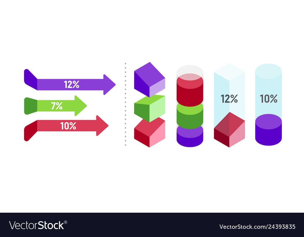Business 3d inforgraphic design set for marketing