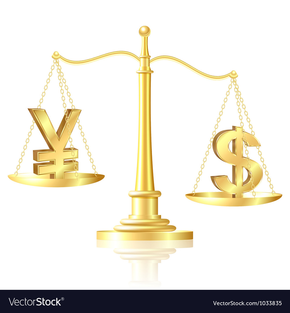 Dollar outweighs Yen on scales vector image