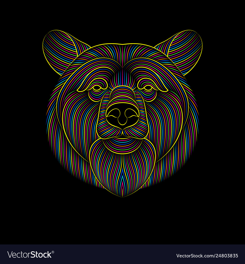 Engraving stylized psychedelic bear on black