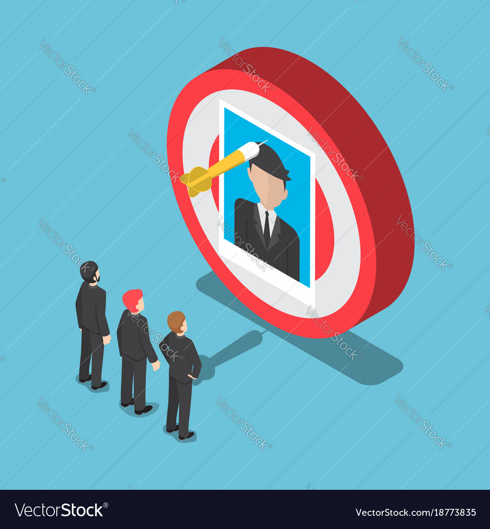 Isometric business people looking at the