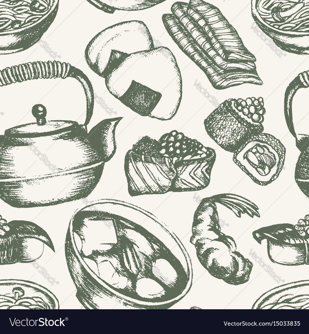 Japanese food - vintage hand drawn seamless